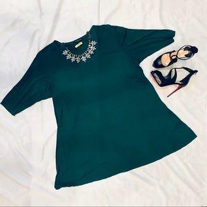 Eileen Fisher Emerald Green Silk Tunic